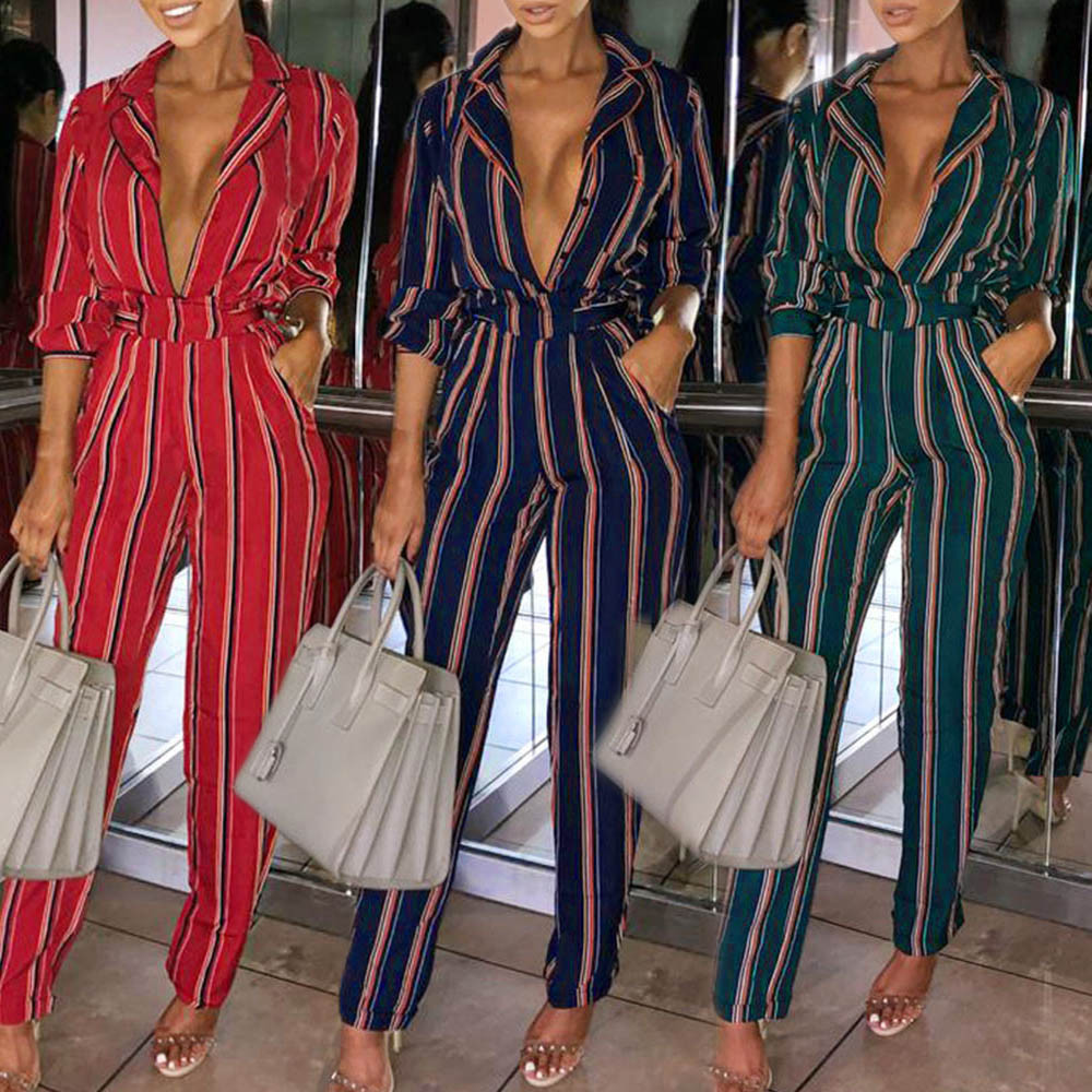 Women Stripe Long Sleeve combinaison pantalon femme Playsuit Clubwear Straight Leg Party   Jumpsuit   palazzo mujer   jumpsuit  #35
