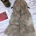 2017 New Fashion Women Mulberry Silk High Quality Scarf Luxury Embroidery Floral Shawls Female Elegant Echarpes