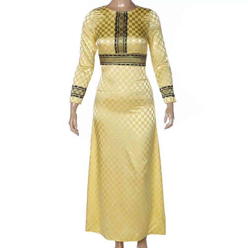 Adult Women African Waist Belted Robe Gown Dress Fashion Round Neck Stitching Golden Yellow Noble Evening Dress For Ladies XXL