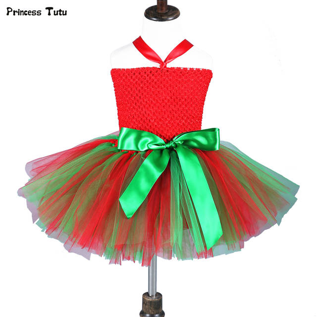Baby Kids Christmas Dress for Girls Clothes Party Ball Gown Tutu Dress  Children Red Green Cosplay 820343da4c09