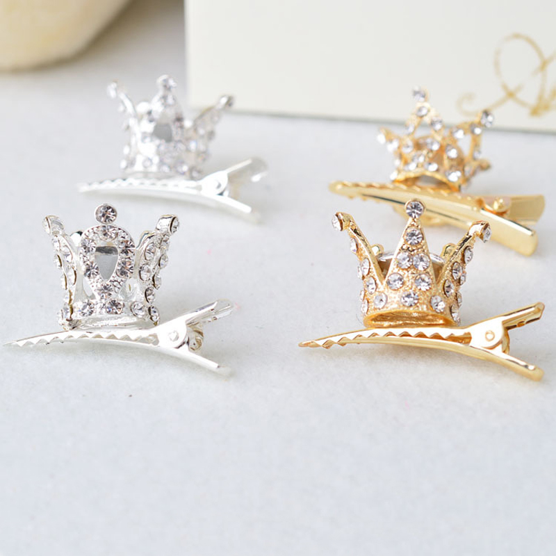 Salg 1Pc3D Crown Hairpin Prinsesse Barrettes Hair Smykker Baby Girl Fashion Skinnende Crystal Hair Clip