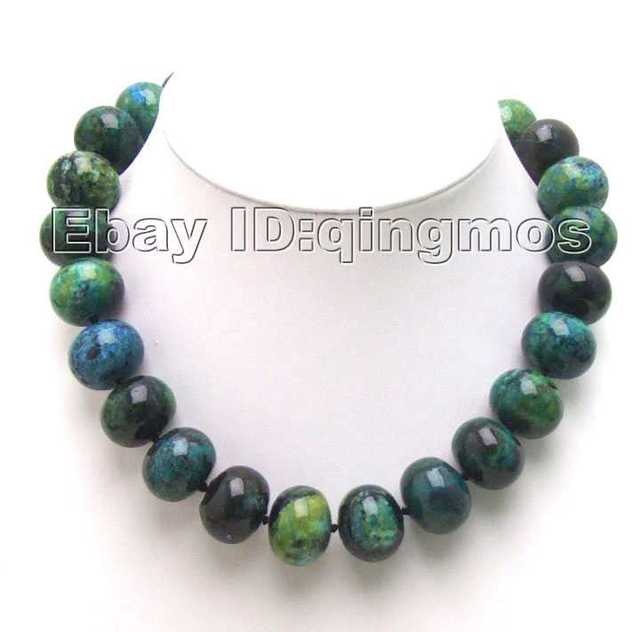 SALE Big 18mm Round cake chrysocolla 17 inch Necklace-5322 wholesale/retail Free shipping