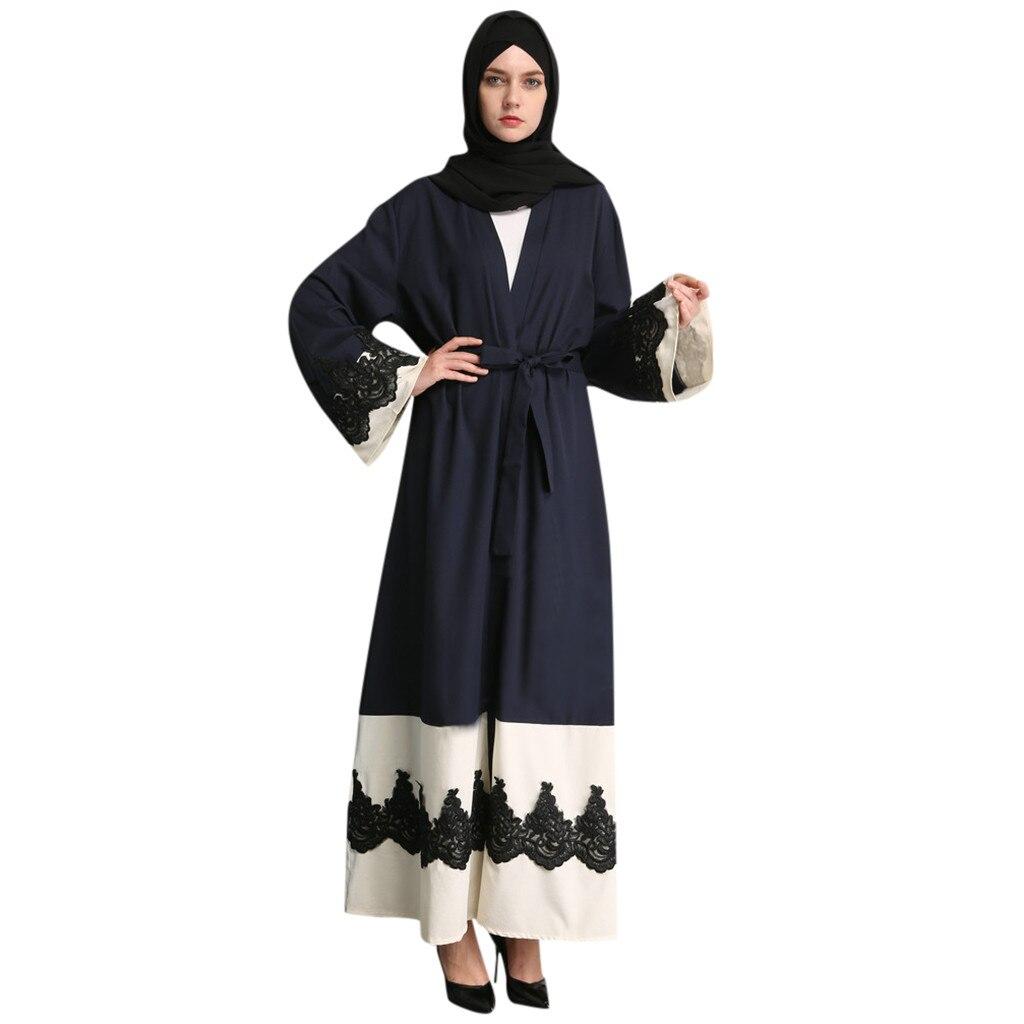 Femmes ajouré embroi longue Robe Robe ouverte Abaya Cardigan bleu musulman Dubai Robe Robe robes musulmanes pour les femmes grande taille z0506