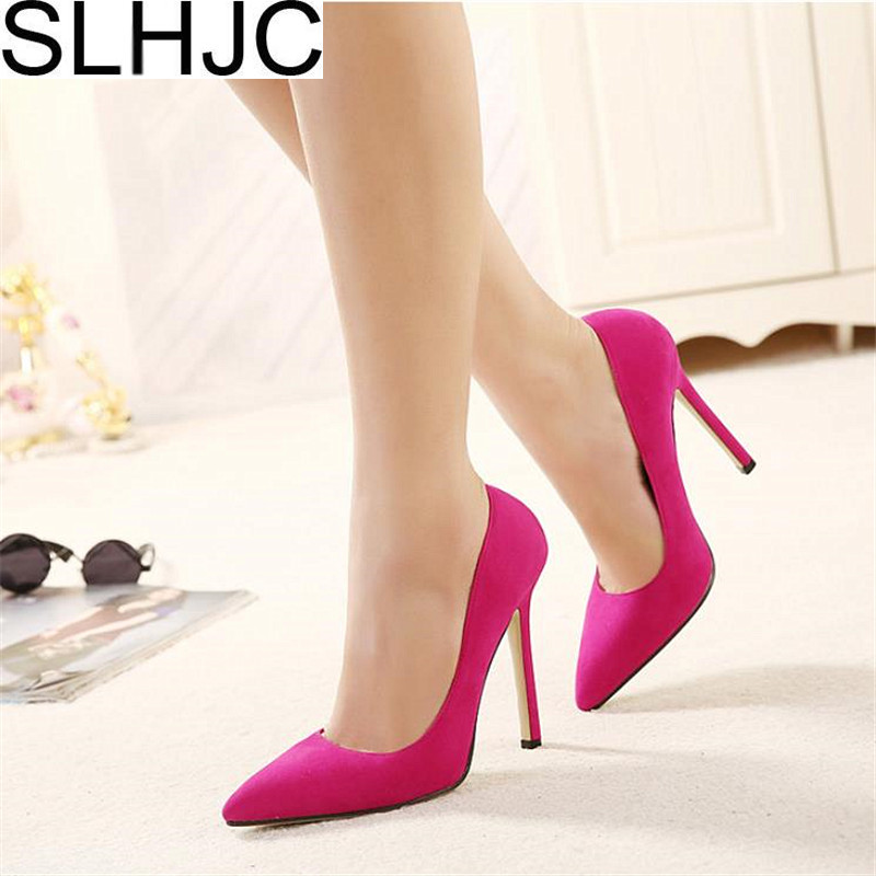 SLHJC Classic 12 cm High Stiletto Heels Pumps Shoes Women Pointed Toe Slip On Fashion Party Wedding Office Shoes Plus Size 42-35 women high heels plus size 32 42 sexy office pointed toe wedges shoes slip on women pumps fashion mixed color ladies shoes