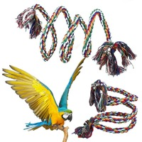 150/200 cm Largo Pet Bird Loro Loro Juguetes de Aves de Pie Cuerda Juguete Juguetes Loro Pájaro Jaula Decoración Jaula de pájaro de Escalada Cuerda campana