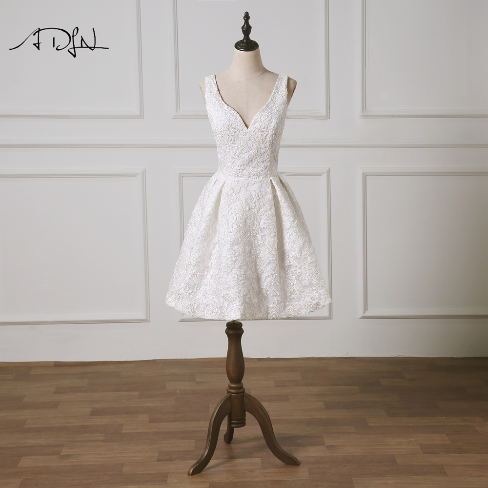 Adln Deep V-neck A-line Wedding Reception Dress Custom Made Vestidos De Curto Lace Short Bridal Gown 2019 New Weddings & Events
