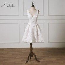 ADLN Deep V-neck A-line Wedding Reception Dress Custom Made Vestidos de  Curto Lace Short Bridal Gown 2019 New 14df6d656974
