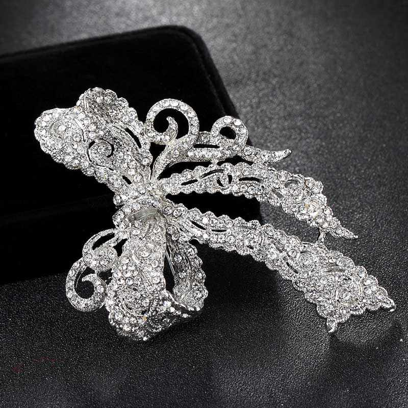 655e7f0da ... Very Kawaii Bow Rhinestone Wedding Brooches collar Women Party Broach  Perfect Women's Gold Brooch Hijab Pins