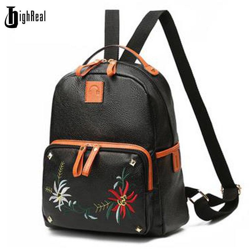 HIGHREAL New Travel Backpack Women Backpack Leisure Student Schoolbag Soft PU Leather Women Bag J123