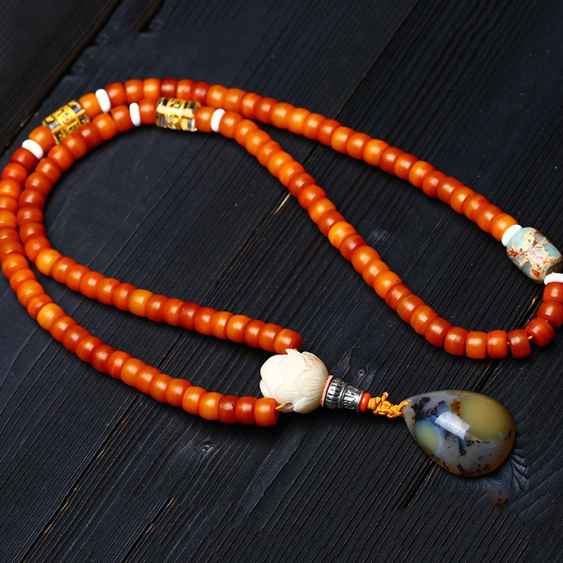 Wholesale Natural Yak Bone Bracelets 108 Buddha Beads Water Drop Pendant Necklace Rosary Tibetan Style Bracelet Jewelry-in Strand Bracelets from Jewelry & Accessories    2