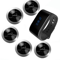 Free shipping!!! SINGCALL wireless call bell system, 1 waterproof mobile watch receiver, 5 multi keys buttons, waiter service
