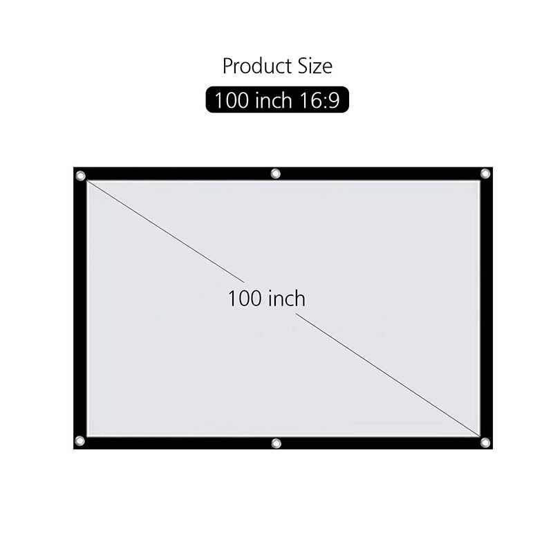 100 Inches 16:9 Simple Wall Mounted Projector Screen Polyester Portable Foldable Projection Screen For Home & Outdoor Cinema
