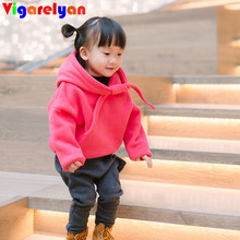 Children sweater plus velvet fall winter girl hooded sweater boys jacket kids thickening outerwear children clothes high quality