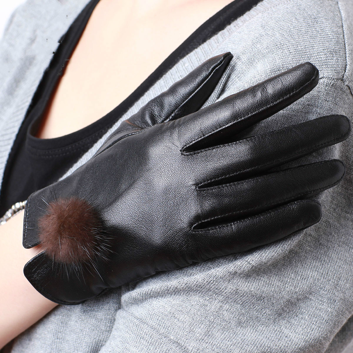 High quality womens leather gloves - Fashion Winter Women Black Brown Genuine Leather Gloves Sheepskin Gloves Warm Lady Leather Gloves Outdoor Sports