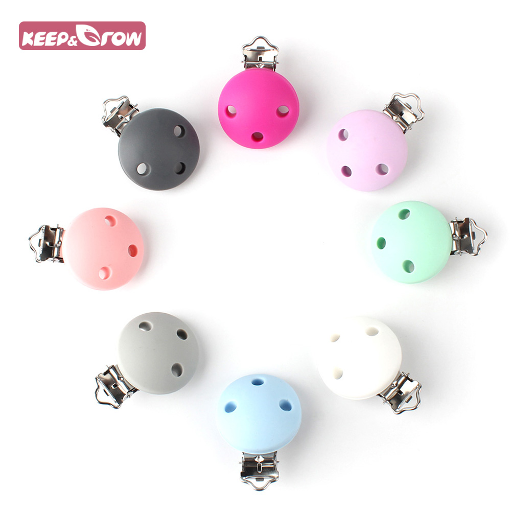 Keep&Grow 1Pc Round Silicone Pacifier Clips BPA Free Food Grade Silicone For Baby Pacifier Chain Making DIY Nipple Chain Holder