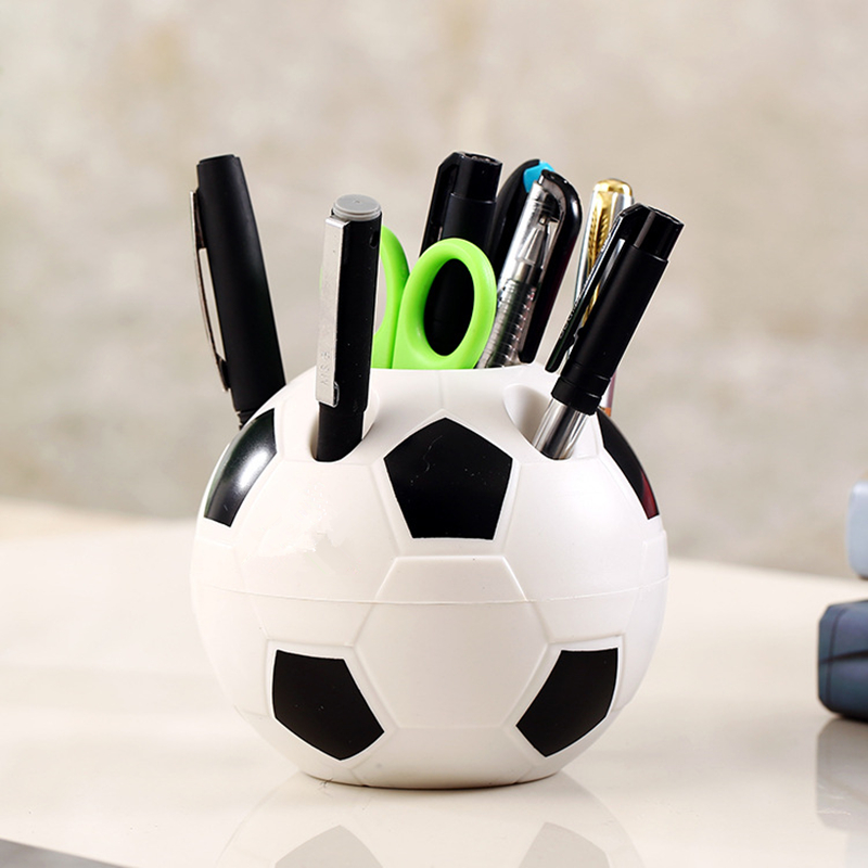 2018 World Cup Football Style Pen Pencil Holder Plastic Toothbrush Makeup Brush Desktop Organizer Container Random Color