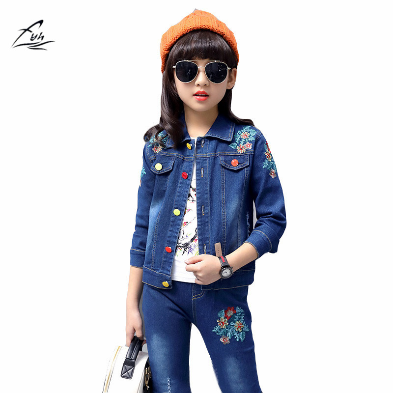 FYH Autumn Spring School Girls Denim Clothing Set Jean Jacket+Denim Pants Jeans 2pcs Children Girls Denim Suit Kids Clothing Set baby fashion clothing kids girls cowboy suit children girls sports denimclothes letter denim jacket t shirt pants 3pcs set 4 13