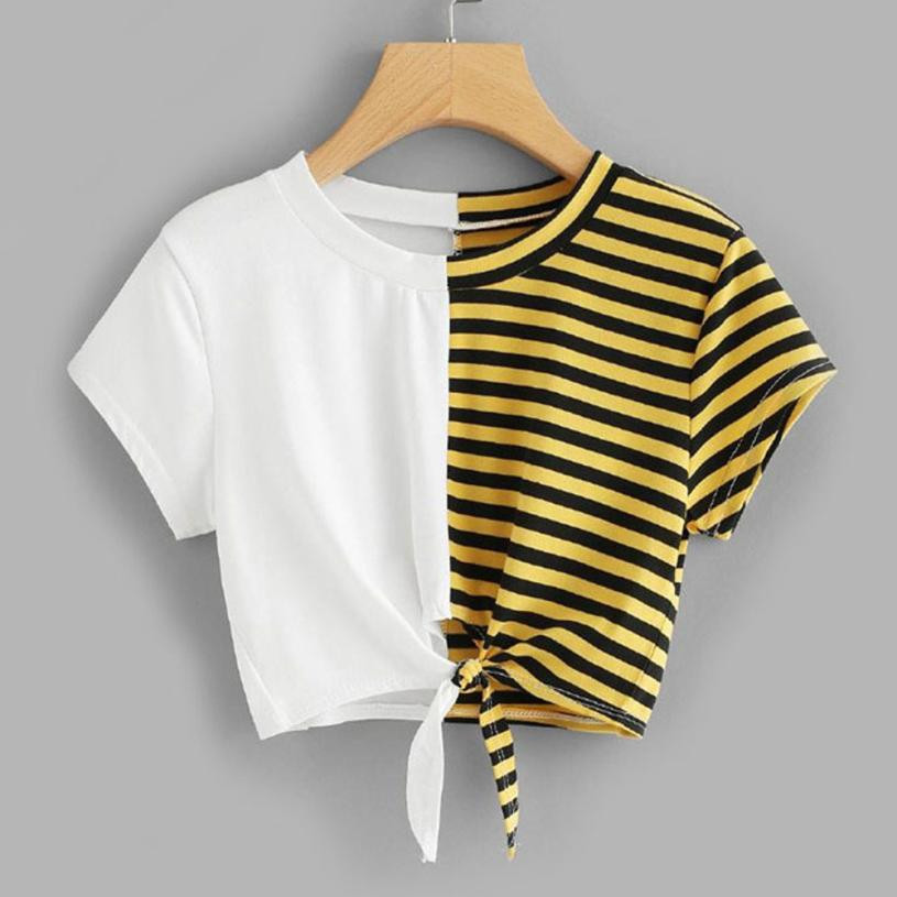 FEITONG Striped Bandage Casual T-Shirt Women Short Sleeve O Neck Summer Blusa Tops Clothes 2018 Fashion Female Shirt Tees #0120