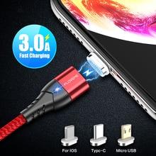 3A Быстрая зарядка магнитное зарядное устройство магнитный usb-кабель для iPhone Micro USB type C кабель Micro usb для samsung Xiaomi
