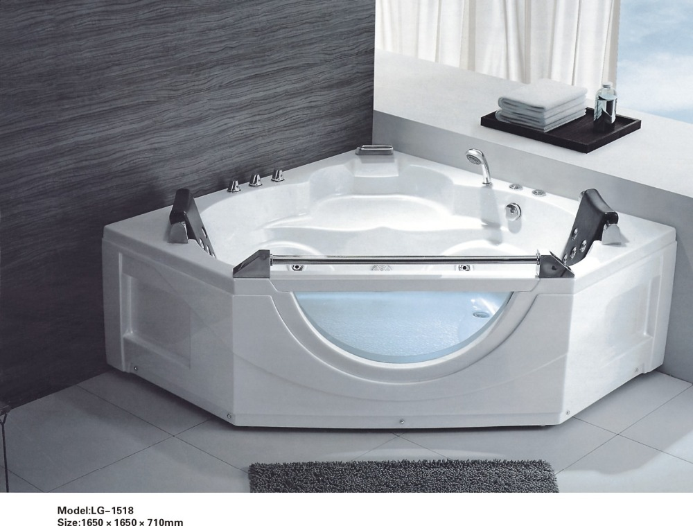 2016 New Design Indoor Portable Corner Acrylic Whirlpool Bathtub 0262-LG-1518
