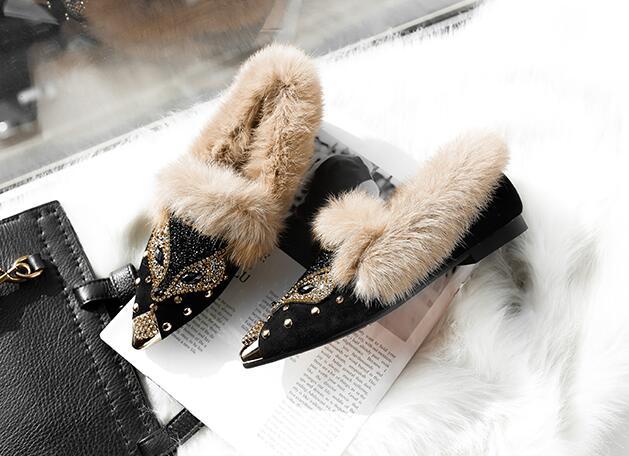 Ardoisé Chaud Femelle Cristal Eau Hauts Renard Forage Point Plus Bas Femmes Style Daim Pompes Chaussures Nouveau À Peluche En Euro Perles Toe Station Talons x1SnwgUTqA
