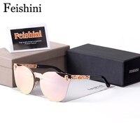 FEISHINI простой темперамент кошачий глаз солнцезащитные очки для женщин для человек черепного головного высокое качество очки Пари