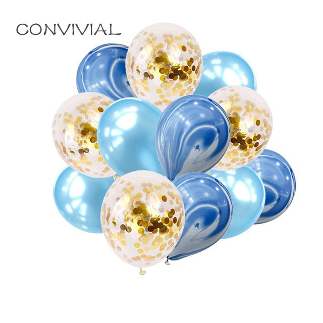 12inch Blue Latex Balloons Bouquet Marble Gold Confetti Wedding Baby Shower Birthday Party Decoration Supplies