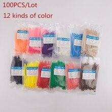 100 шт./лот 3*100 цветная кабельная стяжка нейлоновые кабельные стяжки разные цвета 3X100 мм