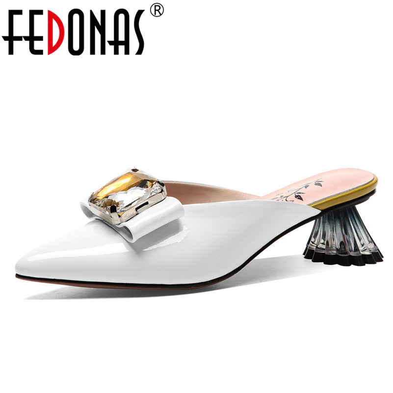 FEDONAS New Fashion Elegant Women Pumps Summer Genuine Leather Patent Leather Sandals Butterfly Knot Pointed Toe