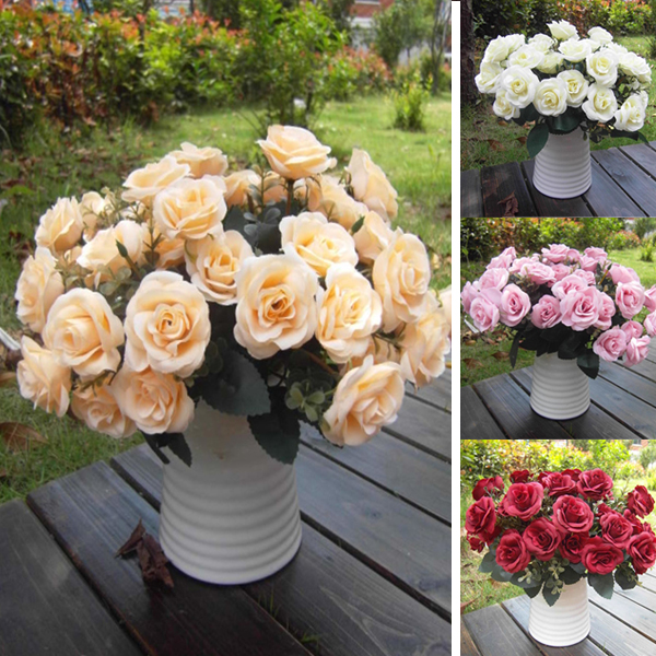 Buy artificial false rose silk flowers 12 flower head floral home wedding party - Garden decor stores ...