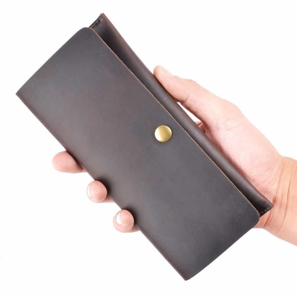 Nuevas llegadas cartera larga de cuero genuino para hombre, tarjetero plegable para hombre, billetera Vintage, tarjetero para hombre, monedero para regalos
