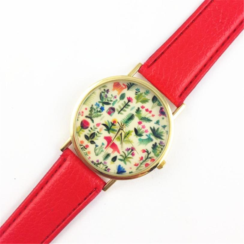 So Hot ! Superior Women's Animal Design Leather Floral Printed Analog Quartz Wrist Watch June 16 *