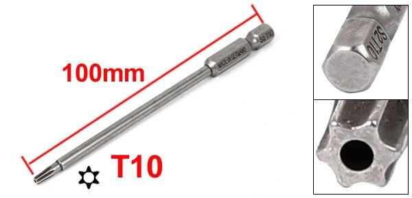 "Купить с кэшбэком UXCELL 1/4"" Hex Shank T6 T7 T8 T9 T10 T15 T25 T30 Magnetic Torx Security Screwdriver Bit 100mm Long for repair work"