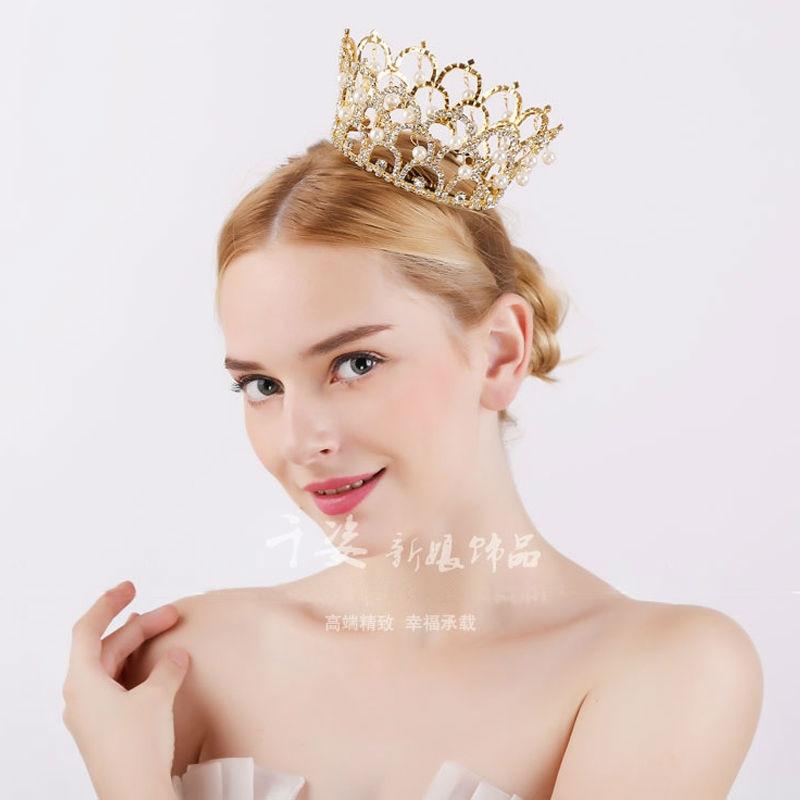 Big European Royal Crown Gold Or Silver Rhinestone Ruby Tiara Super Large Queen Crown Wedding hair Accessories