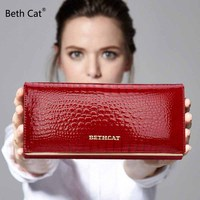 Free Gift Women Genuine Leather Wallet Women S Fashion Alligator Pattern Long Standard Wallets Hasp And