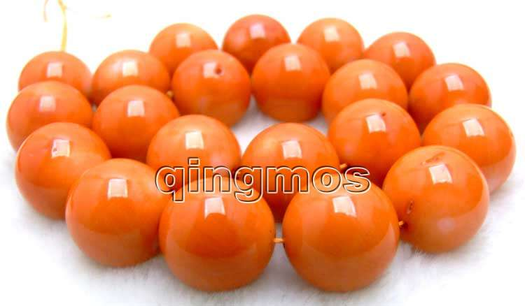 SALE Big 17-19mm high quality 100% round Orange nature Coral strand 15