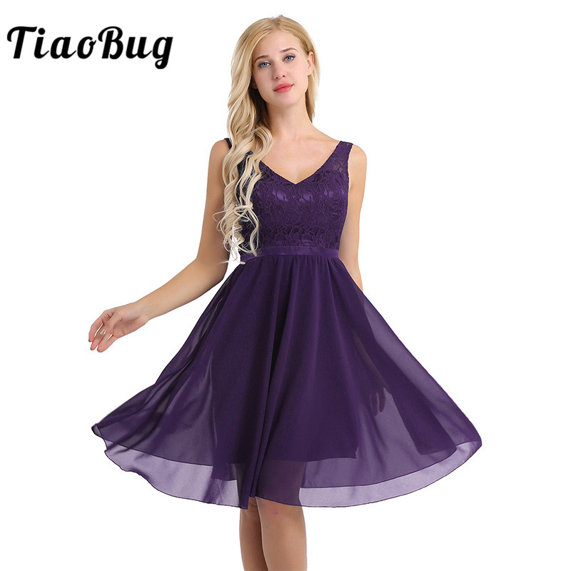 TiaoBug Sleeveless V Neck Embroidered Lace Floral Chiffon Elegant Women Ladies Wedding Party Dress Formal Cocktail Party Dress