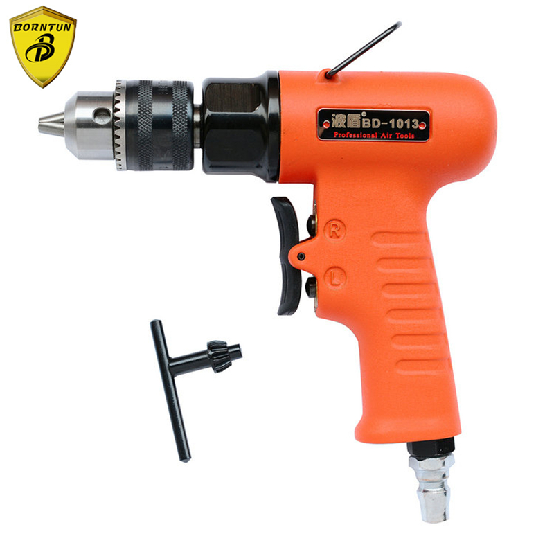 Borntun 1.5-10mm Low Speed Pneumatic Air Drill Bore Gun Pneumatic Drills Bores Tool Air Drilling Boring Woodworking Metalworking high quality 3 8 10mm reversible pneumatic drill tool air drilling tool