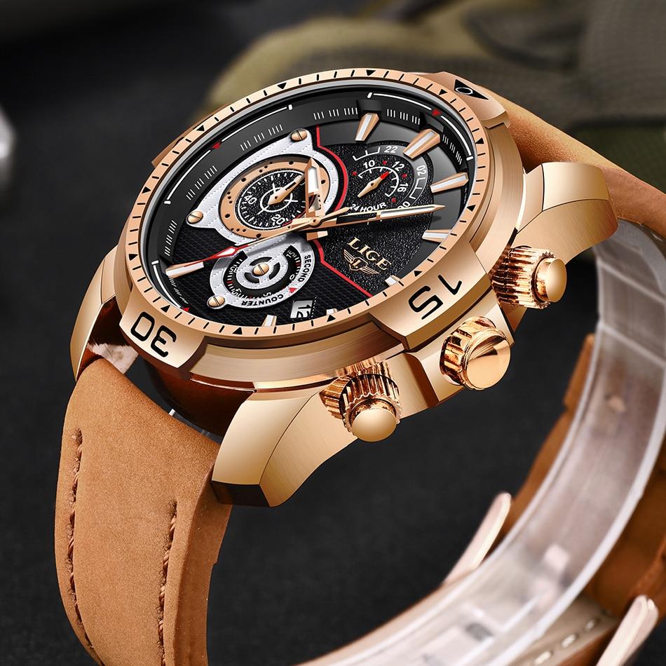 HTB1INXqa6DuK1Rjy1zjq6zraFXaR LIGE Mens Watches Top Brand Luxury Casual Leather Quartz Clock Male Sport Waterproof Watch Gold Watch Men Relogio Masculino