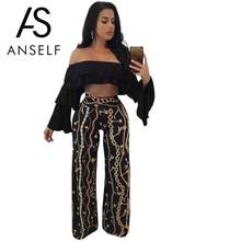 Anself 2019 Summer Pants Fashion Women Gold Chain Print Wide Leg Palazzo Pants Loose High Waist Party Club Capri Trousers Black(China)
