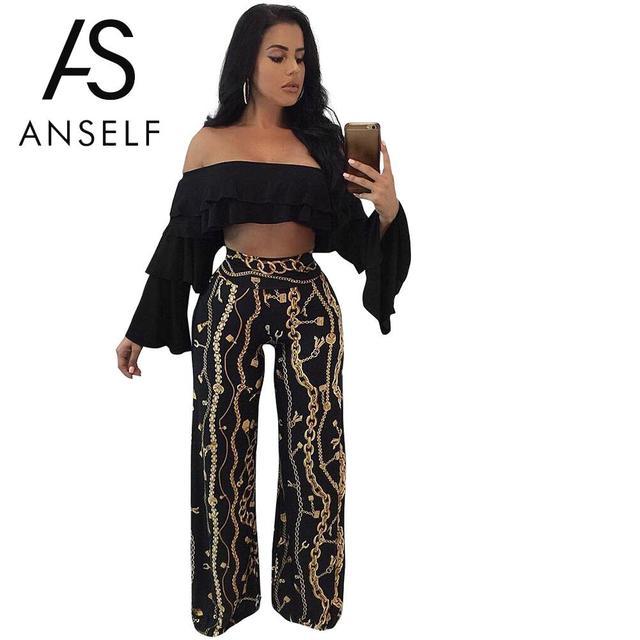 56a10aabf0318 Anself 2019 Summer Pants Fashion Women Gold Chain Print Wide Leg Palazzo  Pants Loose High Waist Party Club Capri Trousers Black