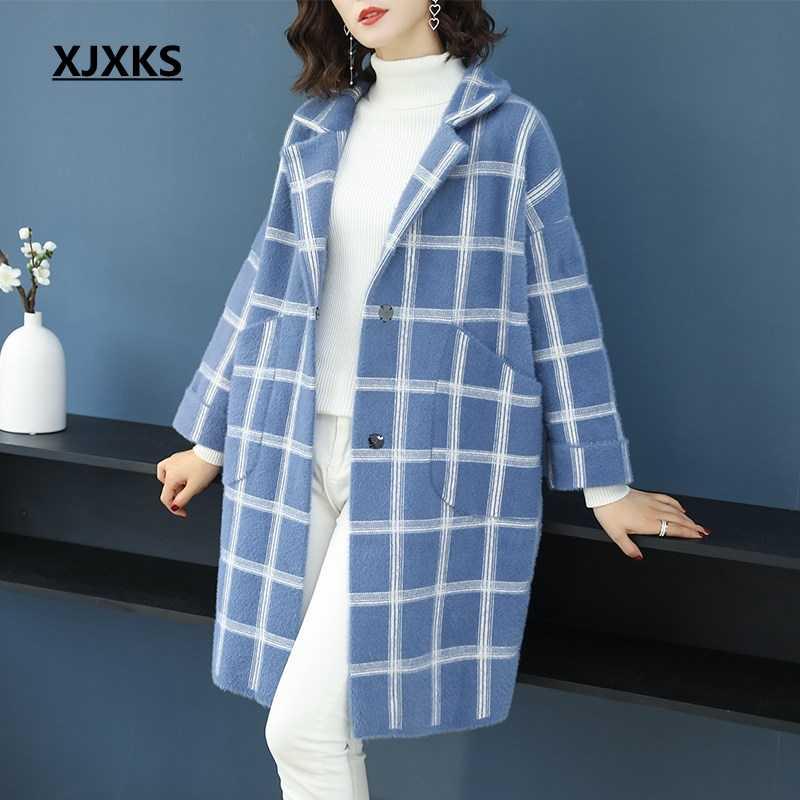9edda5ce7ba Подробнее Обратная связь Вопросы о XJXKS новое пальто Для женщин плед  отложным свободные манто Femme Hiver кардиган с длинными рукавами  Однобортный ...