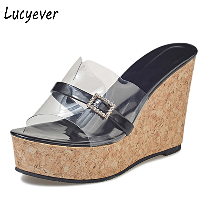 Lucyever Platform Wedges Sandals Women Summer Fashion Sexy Crystal Peep toe Super High Heels Slippers Flip Flops Shoes Woman