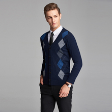 High quality plaid checked button knit wool cardigan long sleeve argyle pattern mens cashmere sweater cardigan