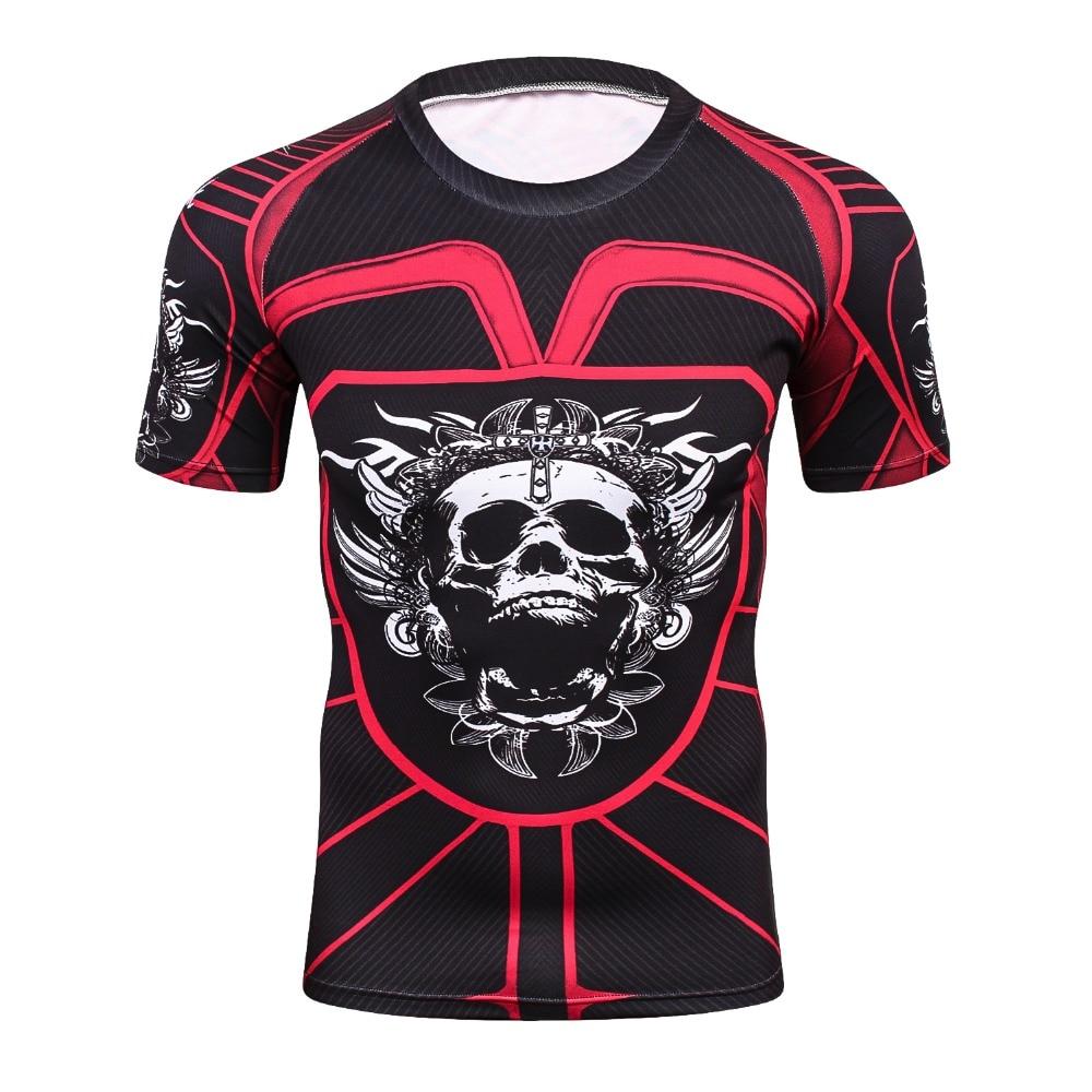 Cool Skull Punisher Hip hop Series Men 3D Printed Tight T-Shirt Fitness Summer T Shirt Men Quick-Dry Rushguard Short Sleeve Tees