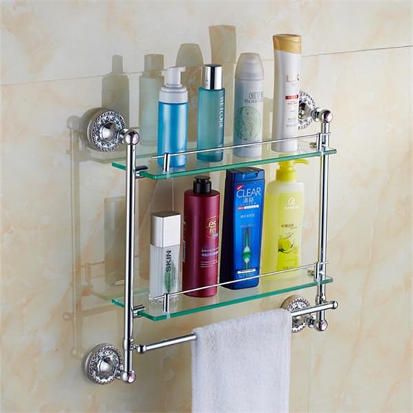 ФОТО Bathroom Accessories Solid Brass chrome Finish With Tempered Glass,double Glass Shelf bathroom double shelf
