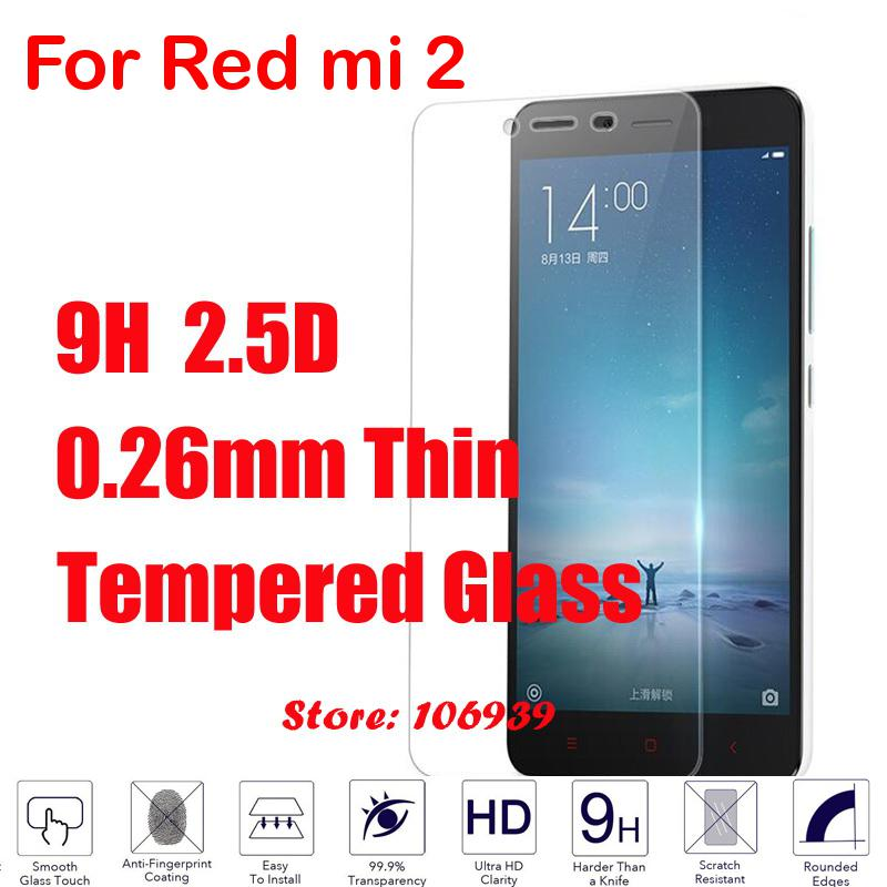 Best Anti-Explosion New 9H 2.5D 0.26mm Phone LCD Display Accessories Tempered Glass Cristal For Xiaomi Redmi Red rice Hong mi 2