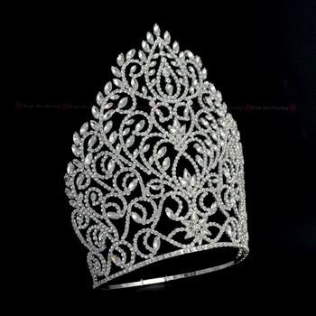 Tall Large Crowns Rhinestone Crystal Adjustable Headband For Pageant Or Bridal Wedding Hair Jewelry Queen winner Handmade Tiaras недорого