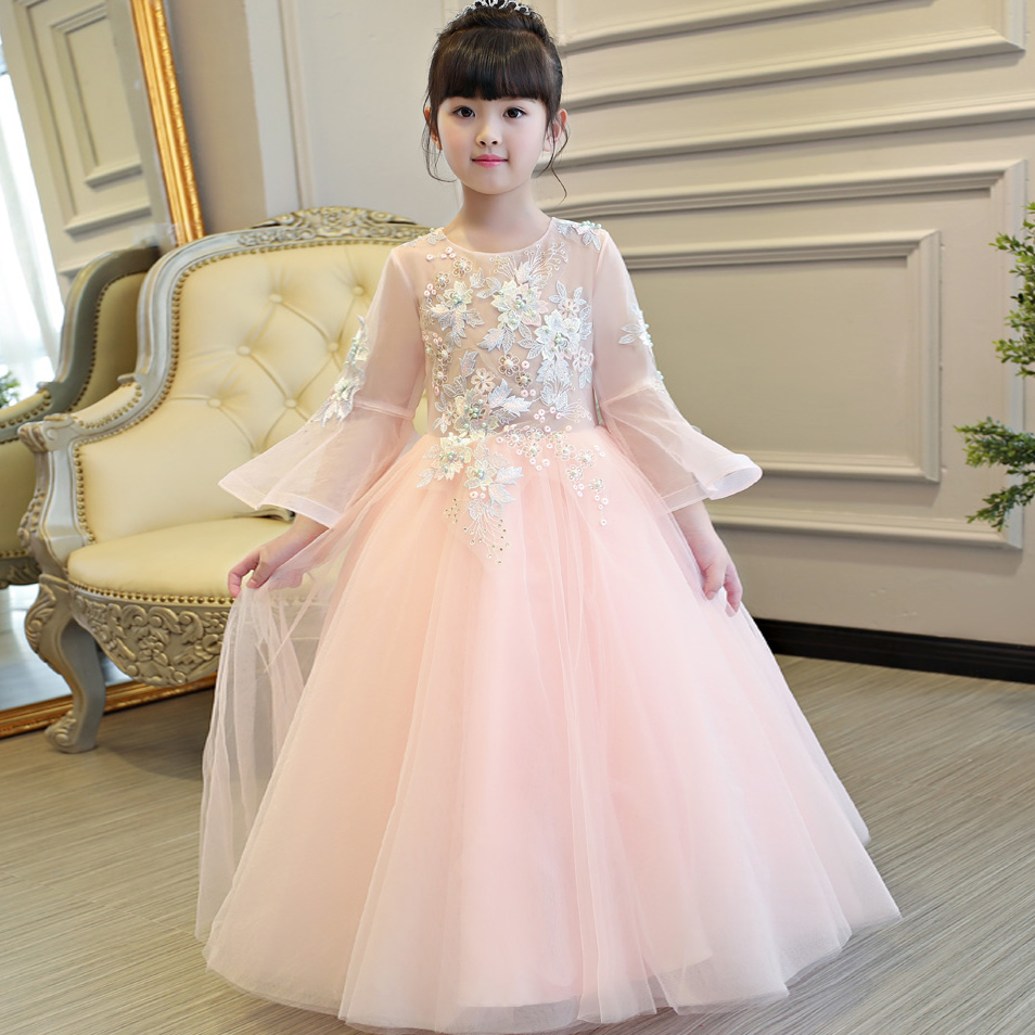 2017New Children Pink Color Embroidery Flowers lace dress long Wedding Birthday party girls dress clothing girl lace dress long lace slit see thru long lingerie dress