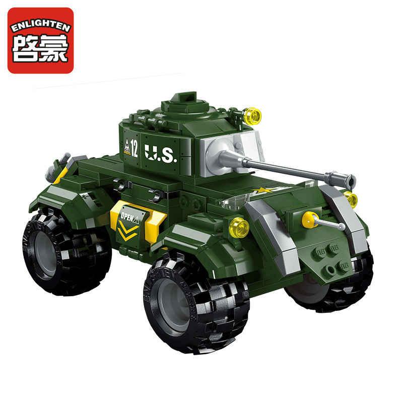 Pertempuran Pabrik Adegan Staghound Mobil Lapis Baja Model Blok Bangunan Kami Prajurit Tentara Bata Mainan